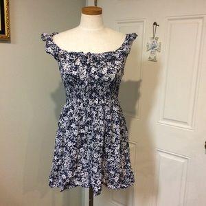 Off shoulder navy floral dress blue white ruffle